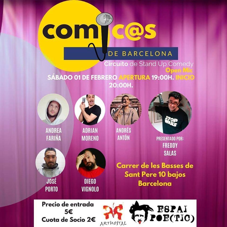 Sábado de Monólogos. Cómicos de Barcelona 01-02-20 Freddy Salas