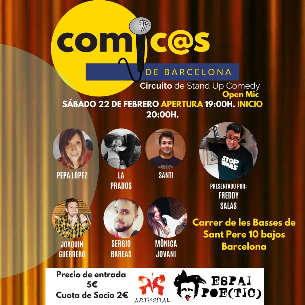 Sábado de Monólogos Cómicos de Barcelona 22-02-20 Freddy Salas