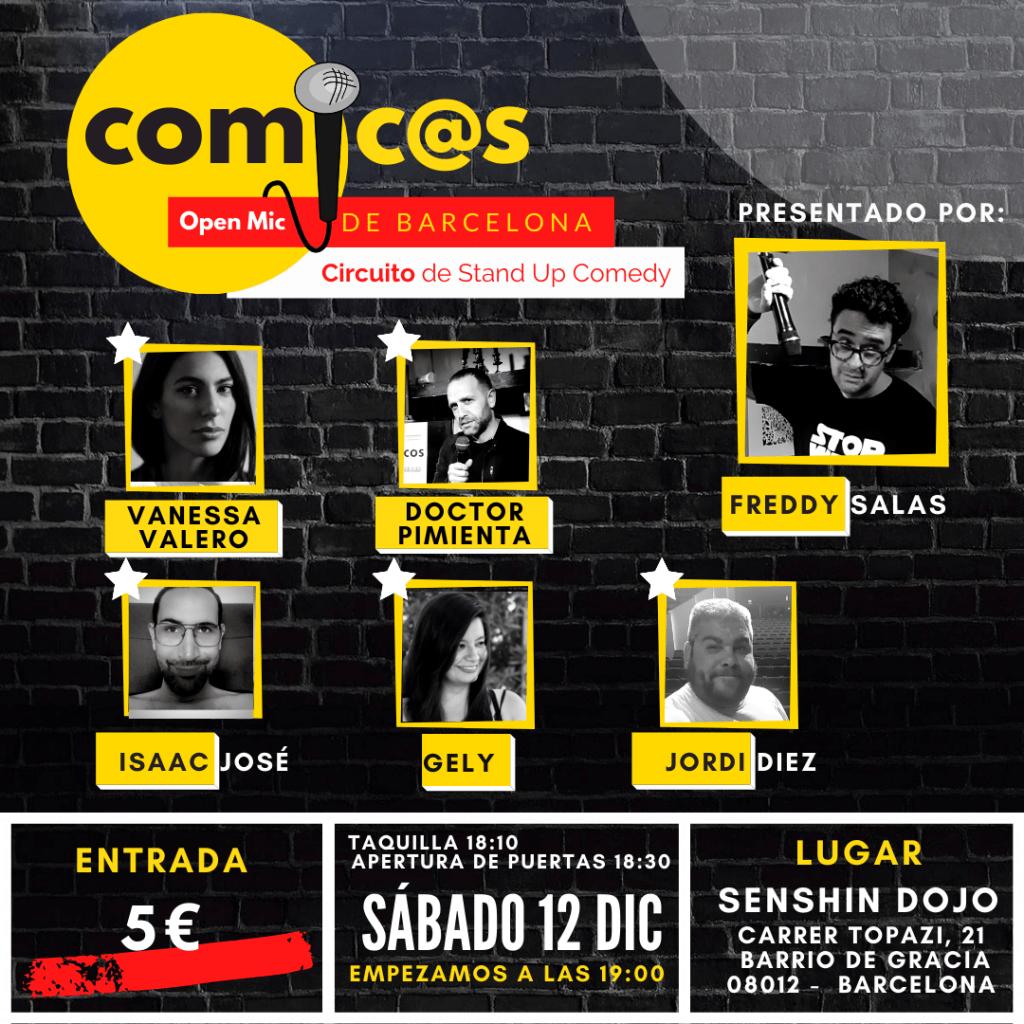 Sábado de Monólogos Cómicos de Barcelona 12-12-20