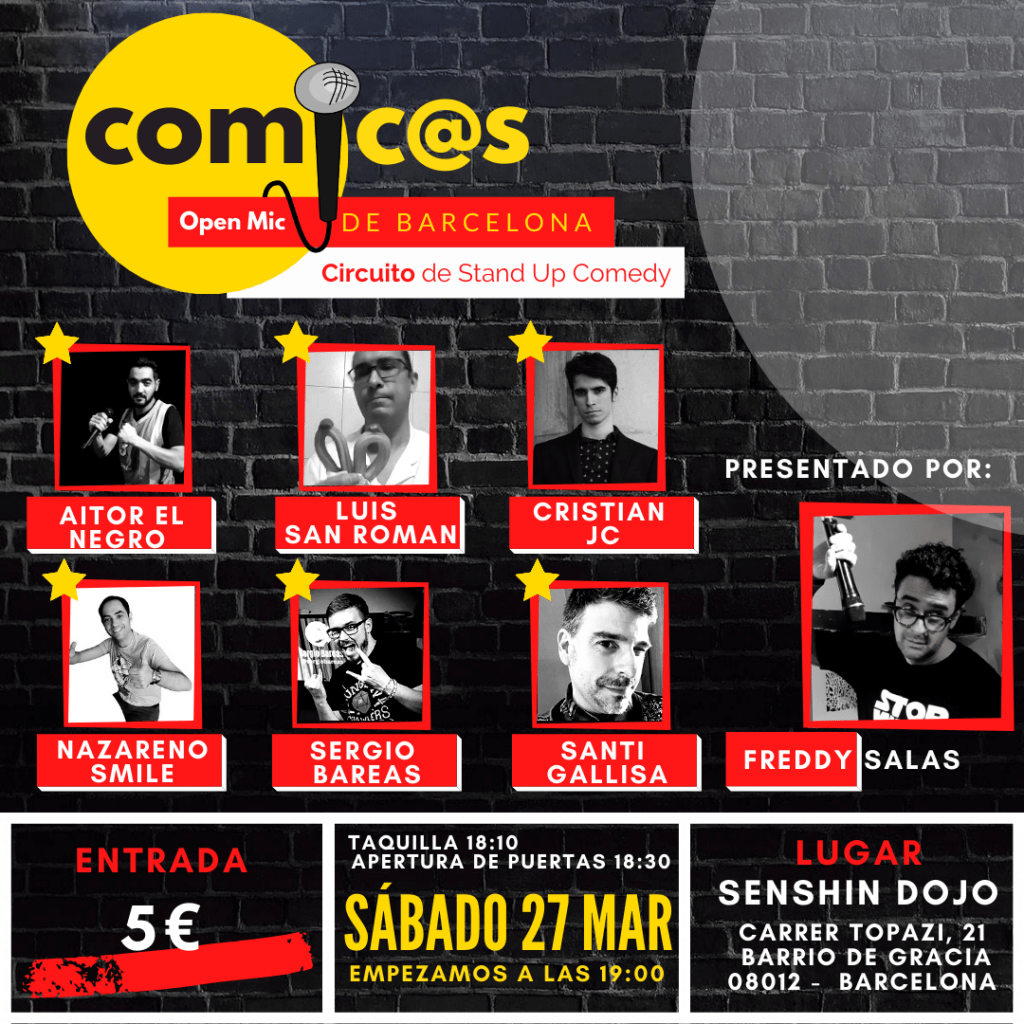 Sábado de Monólogos Cómicos de Barcelona 27-03-21