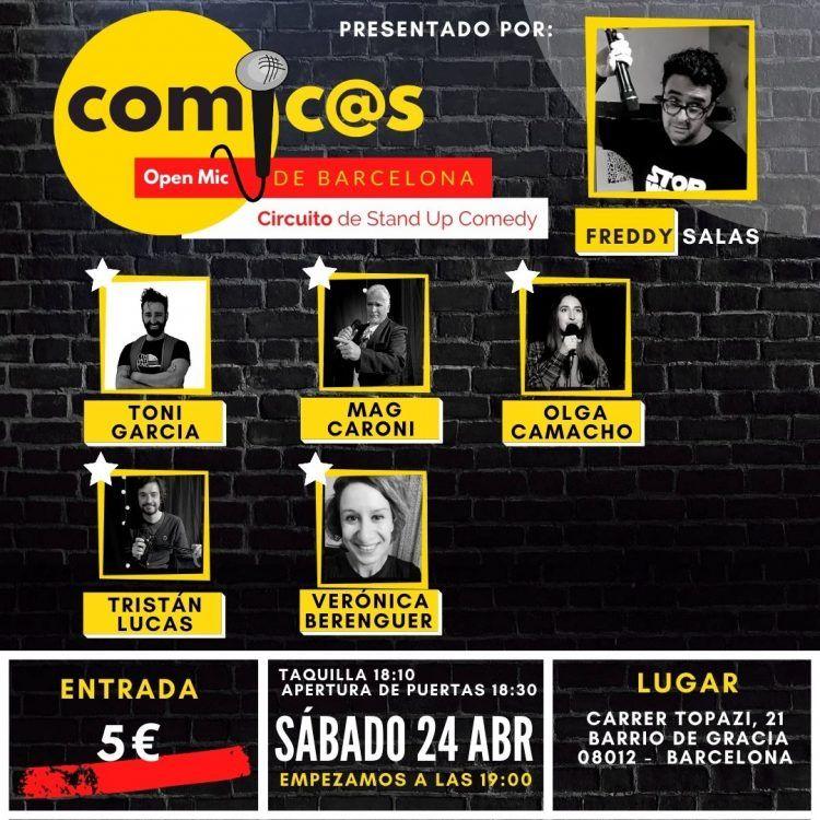 Sábado de Monólogos Cómicos de Barcelona 24-04-21