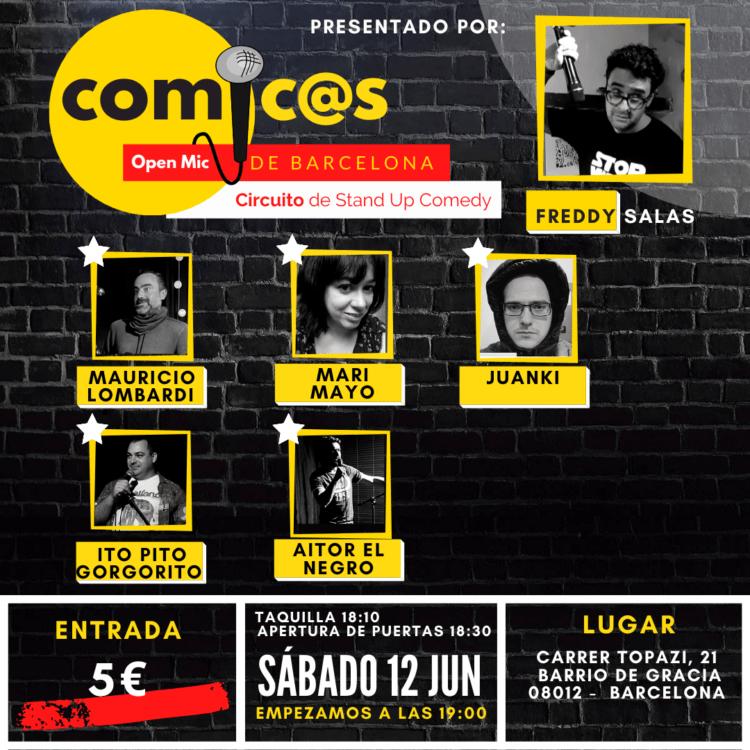 Sábado de Monólogos Cómicos de Barcelona 12-06-21