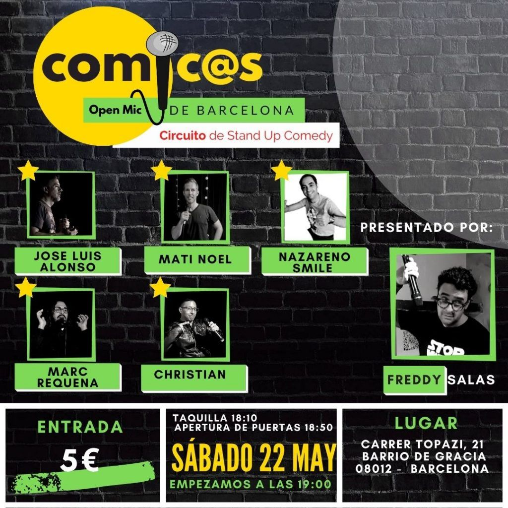 Sábado de Monólogos Cómicos de Barcelona 22-05-21